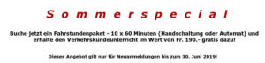 Sommerspecial Fahrstunden Paket